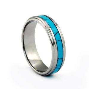 New tungsten carbide with turquoise inlay